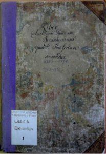 Přední strana desek knihy Liber calculororum gymnasii Beneschoviensis z roku 1751.